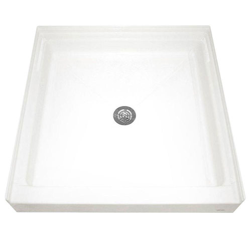 American Standard 3636ST.020 36-by-36-inch Single-Threshold Shower Base with Integral Water Retention and Tiling Flange, White 947845