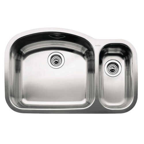 Blanco Wave Undermount Stainless Steel 32.1x20.8x10 0-Hole 1-1/2 Double Bowl Kitchen Sink 141336