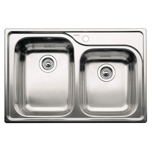 Blanco Supreme Drop-In Stainless Steel 33x22x10 1-Hole Double Bowl Kitchen Sink 149220