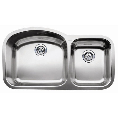 Blanco Wave Undermount Stainless Steel 20.9x10x37.4 0-Hole Double Bowl Kitchen Sink 149224