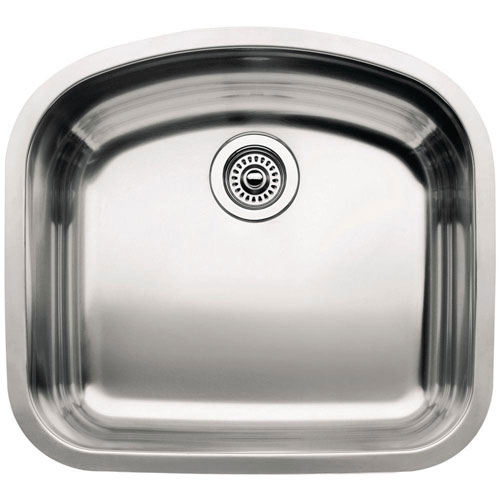 Blanco Wave Undermount Stainless Steel 20.5 inch 0-Hole Single Bowl Kitchen Sink 159613