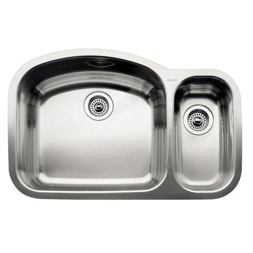 Blanco Wave Undermount Stainless Steel 32.1 inch 0-Hole 1-1/2 Bowl Kitchen Sink 165461