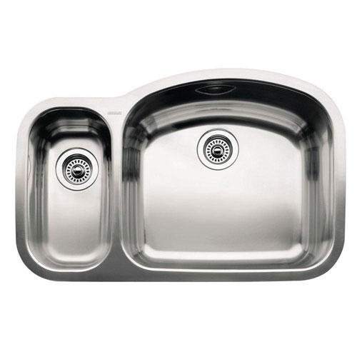 Blanco Wave Undermount Stainless Steel 32 inch 0-Hole Reverse 1-1/2 Double Bowl Kitchen Sink 206069