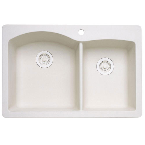 Blanco Diamond Dual Mount Composite 33x22x9.5 inch 1-Hole Double Bowl Kitchen Sink in Biscuit 439557