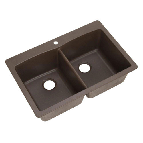 Blanco Diamond Dual Mount Composite 33x22x9.5 inch 1-Hole Double Bowl Kitchen Sink in Cafe Brown 462580