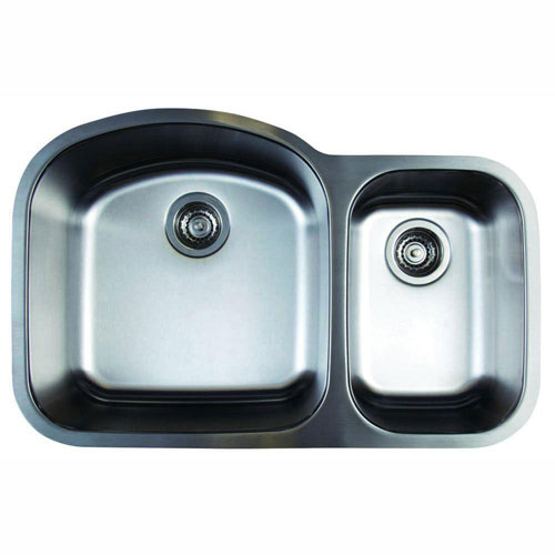 Blanco Stellar Undermount Stainless Steel 31.75 inch x 20.5 inch x 9 inch 0-Hole 1.6 Double Bowl Kitchen Sink 464480