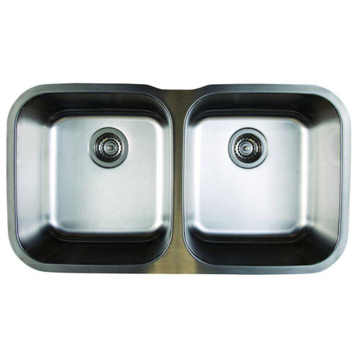 Blanco Stellar Undermount Stainless Steel 18.5x8x8 0-Hole Equal Double Bowl Kitchen Sink 464484