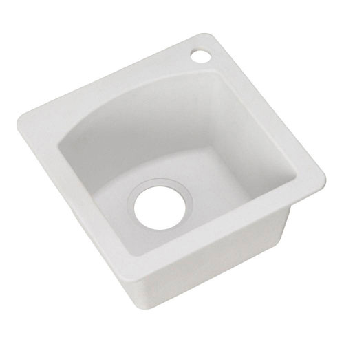 Blanco Diamond Dual Mount Composite 15x15x8 1-Hole Single Bowl Bar Sink in White 467332