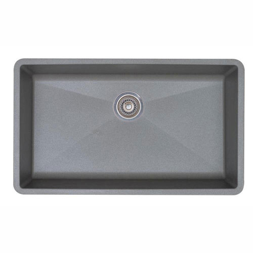 Blanco Precis Super Undermount Granite 32 inch 0-Hole Single Bowl Kitchen Sink in Metallic Gray 467334