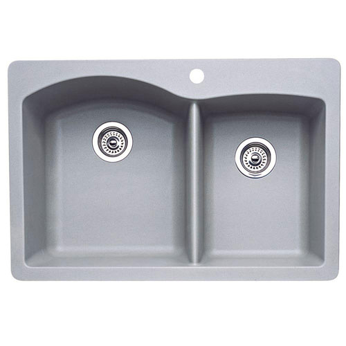 Blanco Diamond Dual Mount Composite 22x9.5x9.5 1-Hole Double Bowl Kitchen Sink in Metallic Gray 469629