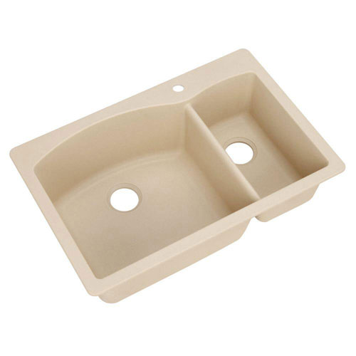 Blanco Diamond Dual Mount Composite 33x22x9.5 inch 1-Hole Double Bowl Kitchen Sink in Biscotti 509526