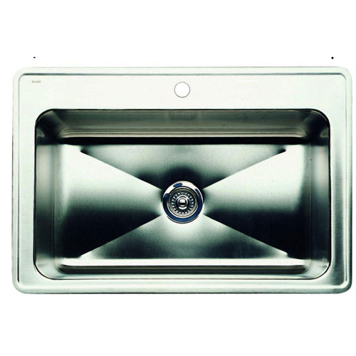Blanco Magnum Drop-In Stainless Steel 33 inch x 22 inch x 10 inch 1-Hole Single Bowl Kitchen Sink 523244