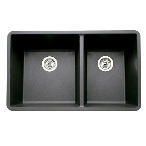 Blanco Precis 1-3/4 Undermount Composite 33x18x9.5 0-Hole Double Bowl Kitchen Sink in Anthracite 524308