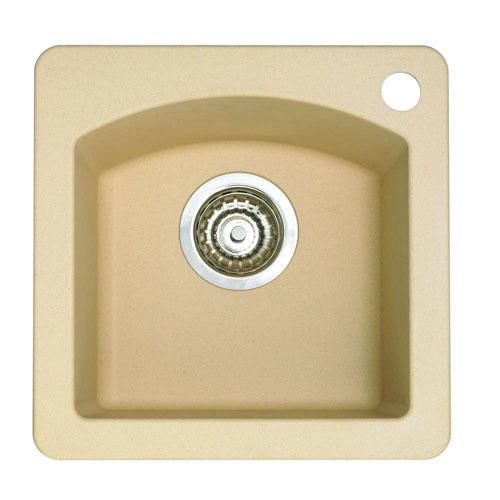 Blanco Diamond Dual Mount Composite 15x15x8 1-Hole Single Bowl Bar Sink in Biscotti 524322