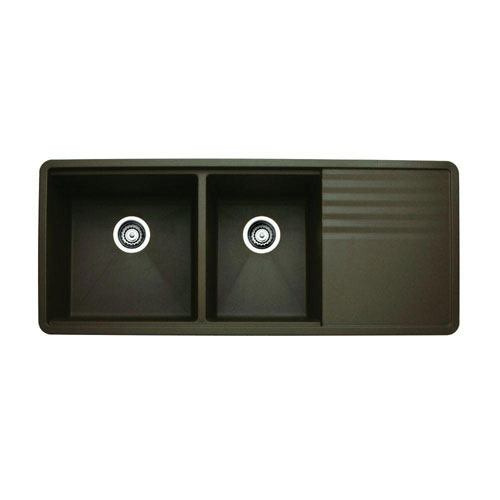 Blanco Precis Multi-Level Undermount Composite 48x20x9.5 0-Hole 1-3/4 Bowl Kitchen Sink with drainer in Cafe Brown 524328