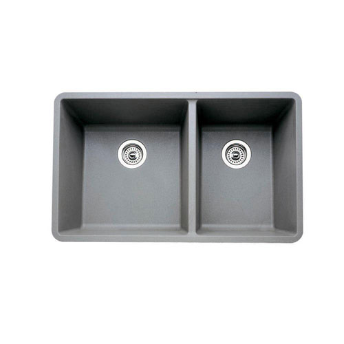 Blanco Precis Undermount Composite 33x18x9.5 0-Hole Double Bowl Kitchen Sink in Metallic Gray 524330