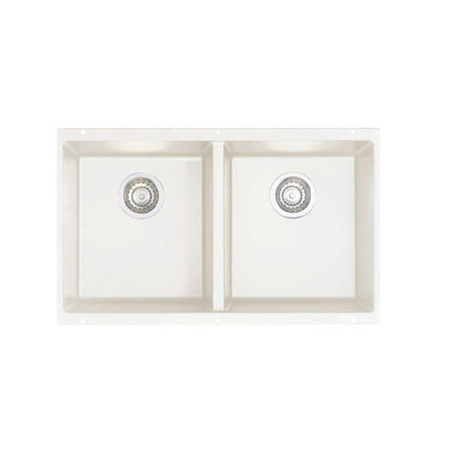 Blanco Precis Undermount Composite 29.75x18.2x8 0-Hole Equal Double Kitchen Sink in White 524331