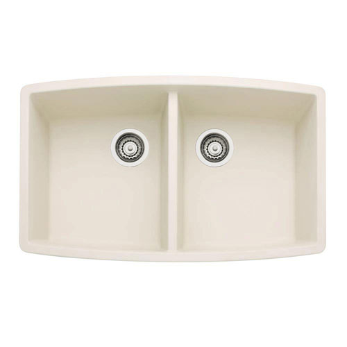 Blanco Performa Undermount Composite 33x20x10 0-Hole Double Bowl Kitchen Sink in Biscuit 524334