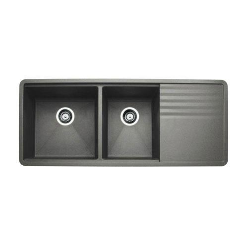 Blanco Precis Multi-Level Undermount Composite 48x20x9.5 0-Hole 1-3/4 Bowl Kitchen Sink with drainer in Metallic Gray 524343