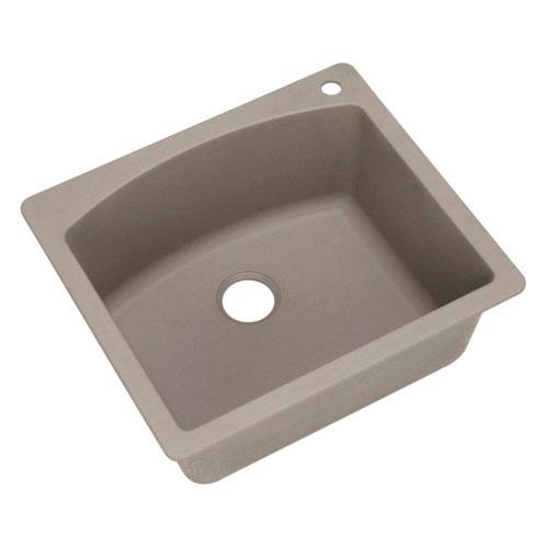Blanco Diamond Dual Mount Granite 25 inch 1-Hole Single Bowl Kitchen Sink in Truffle 537971