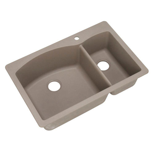 Blanco Diamond Dual Mount Composite 33x22x9.5 1-Hole Double Bowl Kitchen Sink in Truffle 537974