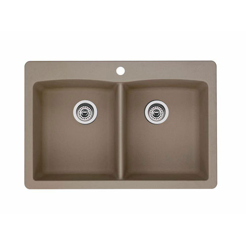 Blanco Diamond Dual Mount Composite 33x22x9.5 1-Hole Double Bowl Kitchen Sink in Truffle 537978