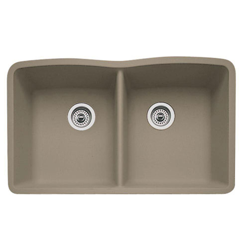 Blanco Diamond Undermount Granite 32 inch 0-Hole Double Bowl Kitchen Sink in Truffle 537979