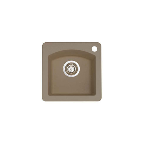 Blanco Diamond Dual Mount Granite 15 inch 1-Hole Single Bowl Bar Sink in Truffle 537986