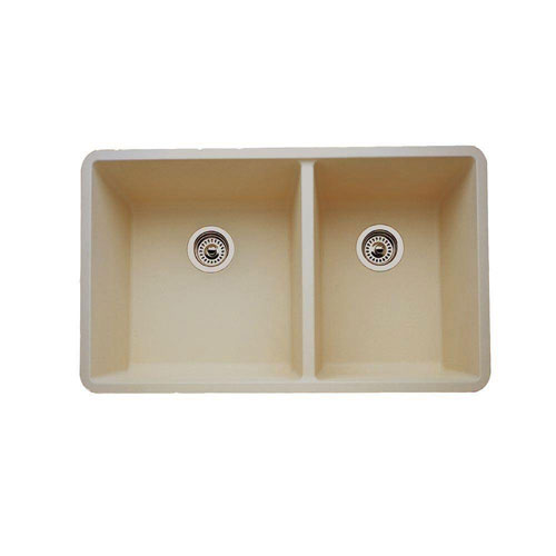 Blanco Precis Undermount Composite 33x18x9.5 inch 0-Hole Double Bowl Kitchen Sink in Biscotti 537990