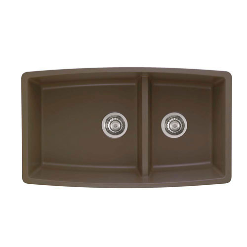 Blanco Performa Undermount Granite 33 inch 0-Hole Double Bowl Kitchen Sink in Cafe Brown 537994