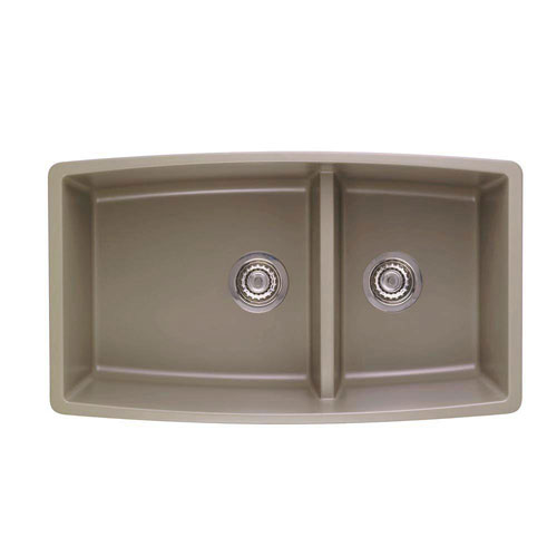 Blanco Performa Undermount Composite 33x19x10 0-Hole Double Bowl Kitchen Sink in Truffle 537996