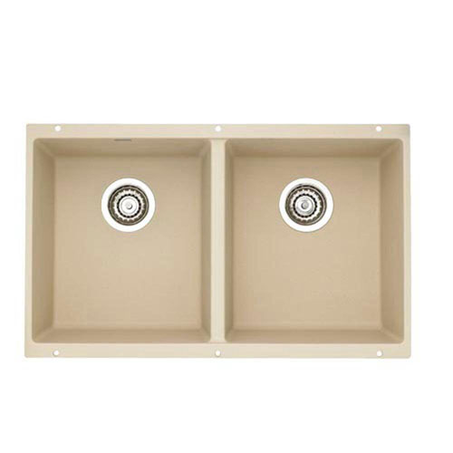 Blanco Precis Undermount Composite 29.75 inch 0-Hole Equal Double Bowl Kitchen Sink in Biscotti 538022