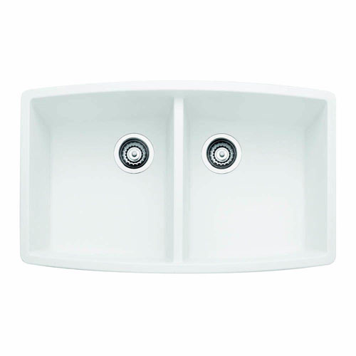 Blanco Performa Undermount Composite 33x20x10 0-Hole Double Bowl Kitchen Sink in White 547330