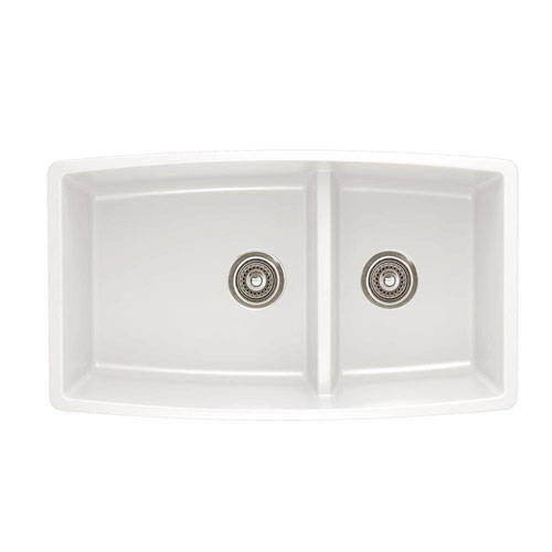Blanco Performa Undermount Composite 33x19x10 inch 0-Hole Double Bowl Kitchen Sink in White 548178