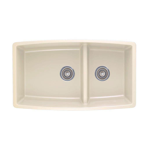 Blanco Performa Undermount Composite 33x19x10 0-Hole Double Bowl Kitchen Sink in Biscuit 548179