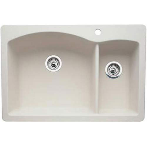 Blanco Diamond Dual Mount Composite 33x22x9.5 inch 1-Hole Double Bowl Kitchen Sink in Biscuit 566681