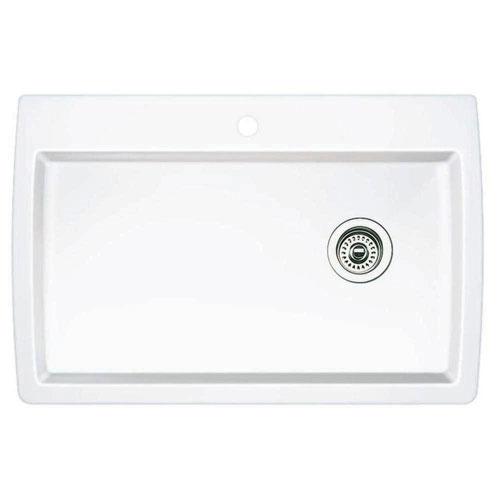 Blanco Diamond Dual-Mount Composite 32-3/4x22x9.5 1-Hole Single Bowl Kitchen Sink in White 628601