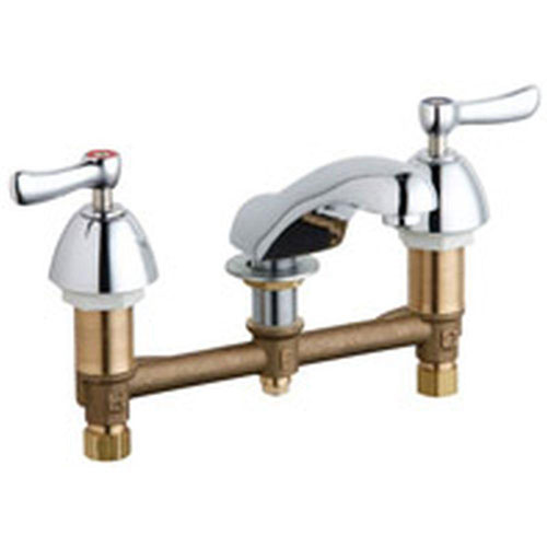 Chicago Faucets 8 inch Widespread 2-Handle Low Arc Bathroom Faucet in Chrome with 5 inch Center to Center Rigid Cast Brass Spout 469178