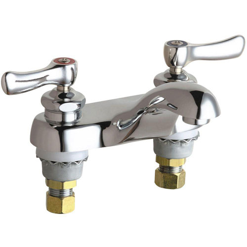Chicago Faucets 4 inch Centerset 2-Handle Low-Arc Bathroom Faucet in Chrome with Lever Handles 469194