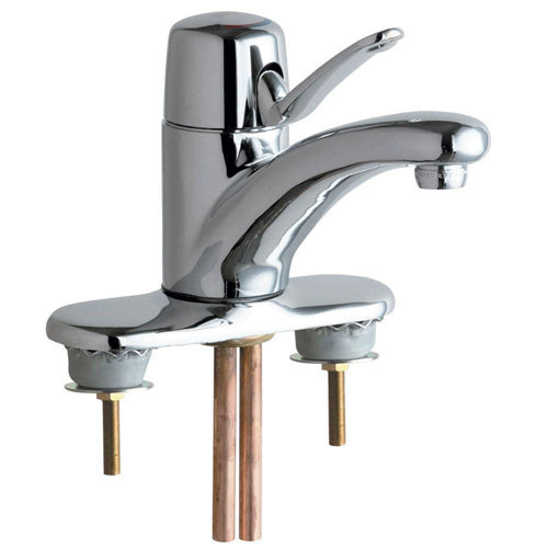 Chicago Faucets 4 inch Centerset 1-Handle Low Arc Bathroom Faucet in Chrome with 4-3/4 inch Integral Cast Brass Spout 519446