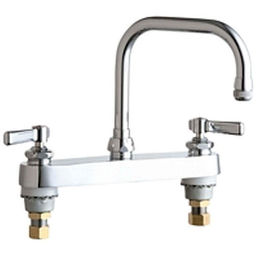 Chicago Faucets 2-Handle Kitchen Faucet in Chrome with 6-1/4 inch Rigid/Swing Double-Bend Spout 638007