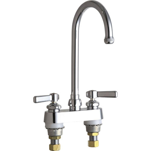 Chicago Faucets 4 inch Centerset 2-Handle High Arc Bathroom Faucet in Chrome with 5-1/4 inch Rigid/Swing Gooseneck Spout 638035