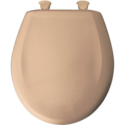 Bemis Slow Close STA-TITE Round Closed Front Toilet Seat in Tan 480887