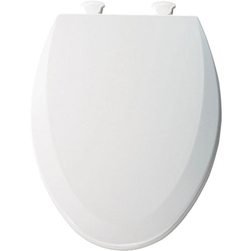 Bemis 1500EC000 Molded Wood Elongated Toilet Seat With Easy Clean and Change Hinge, White 529593