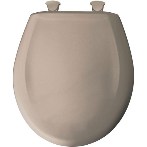Bemis Slow Close STA-TITE Round Closed Front Toilet Seat in Fawn Beige 529686