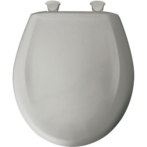 Bemis Slow Close STA-TITE Round Closed Front Toilet Seat in Silver 529703