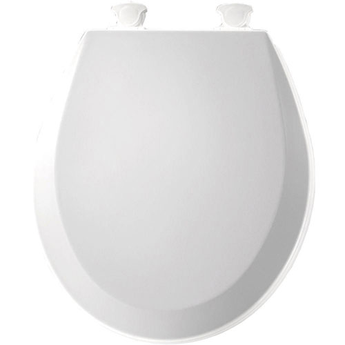 Bemis 500EC000 Molded Wood Round Toilet Seat With Easy Clean and Change Hinge, White 529816