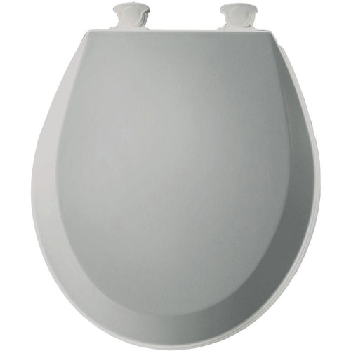 Bemis 500EC062 Molded Wood Round Toilet Seat With Easy Clean and Change Hinge, Ice Grey 529824