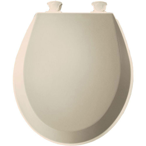 Bemis 500EC146 Molded Wood Round Toilet Seat With Easy Clean and Change Hinge, Almond 529831