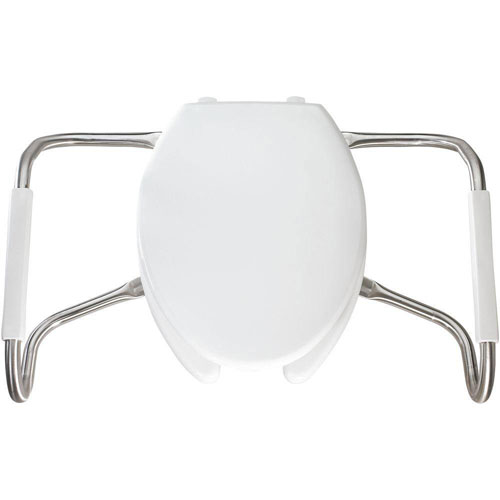 Bemis MA2150T 000 Medic-Aid Plastic Open Front With Cover Toilet Seat with Safety Side Arms and STA-TITE Commercial Fastening System, Elongated, White 766234